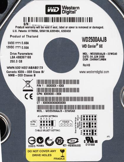 WD2500AAJB (250GB U100 7200)
