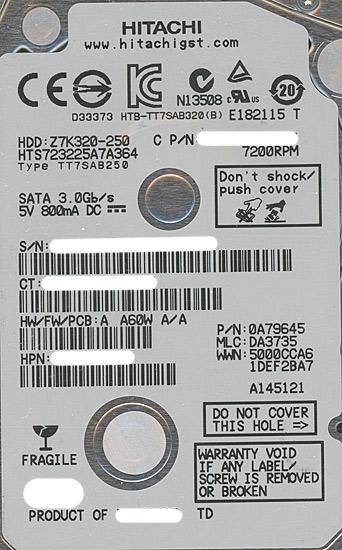 HTS723225A7A364 [250GB 7mm]