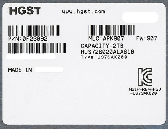 HUS726020ALA610 [2TB SATA600 7200]