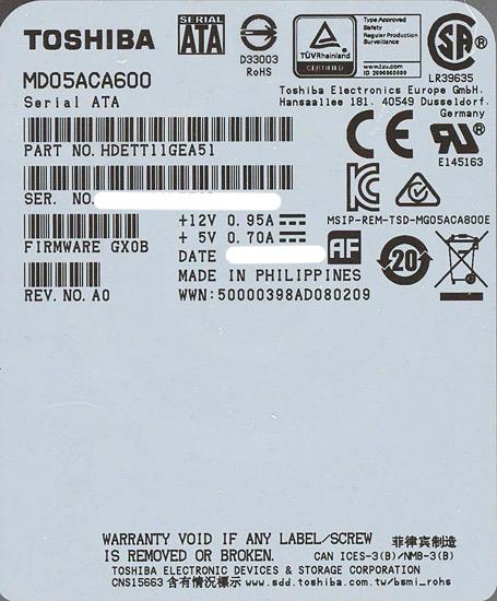 MD05ACA600 [6TB SATA600 7200]