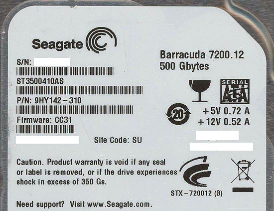 ST3500410AS (500GB SATA 7200)