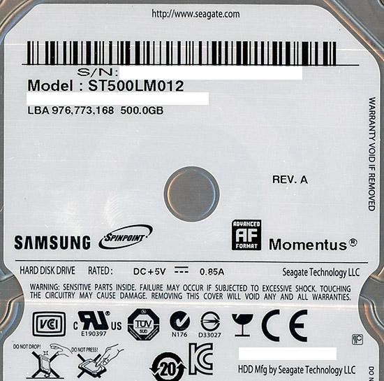 ST500LM012 [500GB 9.5mm] 製品画像