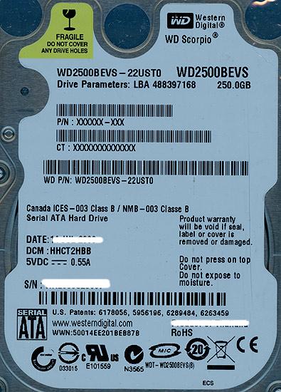 WD2500BEVS (250GB 9.5mm)