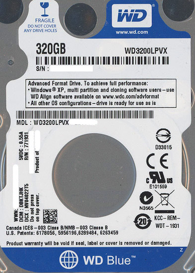 WD3200LPVX [320GB 7mm]
